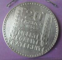 20 Francs Turin 1933 rameaux longs: TTB : pièce de monnaie Française ARGENT N10