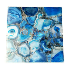 Square Blue Agate Stone Cafeteria Table Top Gemston Art  Home & Living Decor