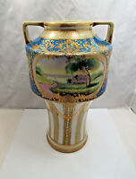 Antique Nippon Hand Painted Gilt Enamel Beaded Jewels Swag Double Landscape Vase