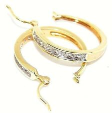 Sale 0.54 Ct White Natural Diamond Hoop Earrings In 14K  Yellow Gold.