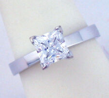 14K WHITE GOLD 1CT PRINCESS CUT CZ SOLITAIRE RING NEW