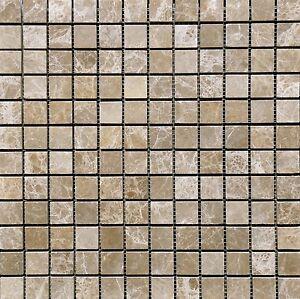 1x1 Emperador Light Marble Tumbled Mosaic Tile Backsplash Floor Wall Kitchen