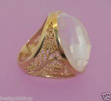 Technibond Clear Quartz Gemstone Ring 14K Yellow Gold Clad 925 Silver 13.20gr