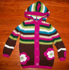 Girls JULLIAN'S CLOSET Pink Aqua Green Brown Stripe Flower Hoodie Sweater Size 4