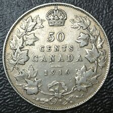 OLD CANADIAN COIN 1916 - 50 CENTS - HALF DOLLAR - .925 SILVER - George V-WWI era