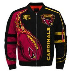 Men's Arizona Cardinals Jacket MA1 Flight Bomber Thicken Coat Fans Outwear Gifts