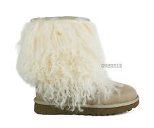 UGG Classic Short Sheepskin Cuff Sand Mongolian Fur Boots Womens Size 6 *NIB*