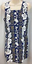WOMENS NEW HORIZON HAWAIIAN DRESS SIZE L BLUE PRINT SHORT DRESS