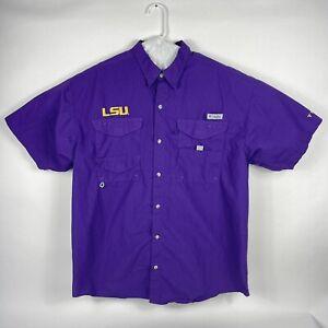 Columbia PFG LSU Tigers Mens XL Short Sleeve Button Vented Purple Fishing Shirt