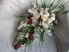 WEDDING BRIDES TEARDROP BOUQUET SHOWER IVORY & DARK RED + DIAMANTES,  PEARLS ETC