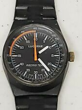 Vintage Lucerne Racing Team Watch Hand Winding Swiss Made Tachymetre Black RARE