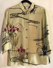 CITRON Santa Monica Mandarin Collar Silk Tunic 3/4 Sleeves Button Front Size S