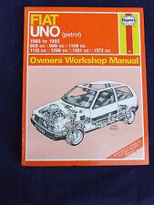 FIAT UNO PETROL HAYNES OWNERS WORKSHOP MANUAL 1983 ~ 1992 923