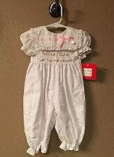 Nwt ~Beautiful~ Smocked Baby Girls Eyelet Lace Pink Ribbon Romper Size 6-9