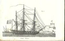 Stampa antica VELIERO NAVE Corvetta francese 1848 Old antique print