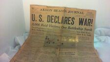 Dec 8, 1941 WAR declared & May 7, 1945 War over Newspapers