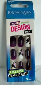 Broadway Glue On Nails Medium Purple white with flower, HOT selling