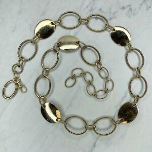 Liz Claiborne Gold Tone Oval Belly Body Chain Link Belt Size Medium M Large L