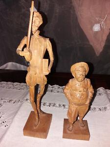 Don Quijote und Sancho Pansa, Vintage Holzfigur Holzschnitzerei aus Barcelona