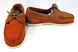 Timberland Boat Shoes Suede 2-Eye Casual Orange Topsiders Size 9.5