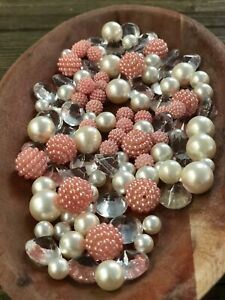Vase Filler Decor Light Coral Berry Beads Tablescape With Pearls, Diamonds