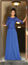 3/4 SLEEVE MODEST MOTHER of THE GROOM DRESS DEMURE BODICE EVENING FORMAL GOWN