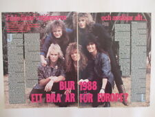 Joey Tempest Europe Marcello Tiffany Medeiros cuttings clippings Sweden 1980s