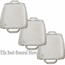 "Set of 3 Sterlingcraft Oblong Party 17"" Serving Tray with Two Handles Canapes"