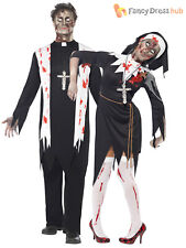 Mens Ladies Zombie Scary Nun Vicar Priest Halloween Fancy Dress Couples Costume