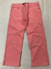 Mini Boden Girls Size 10 Years Pink Zipper Denim Cropped Capri Jean Pants