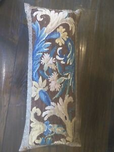 ANTIQUE pillow, Aubusson, browns-blues 24 x 10 x 4, no zipper, great condition