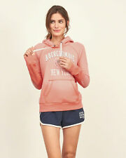 Abercrombie & Fitch Womens Applique Logo Hoodie Pullover Sweatshirt M Orange NWT