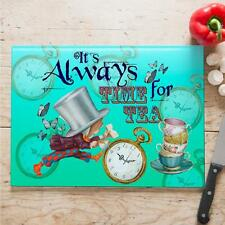 Alice in Wonderland Mad Hatter Quote Cooking Glass Chopping Board Home Gift NWA0