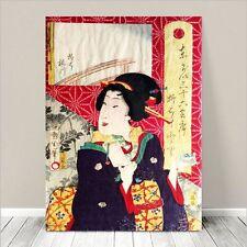 "Vintage Japanese Geisha Art ~ CANVAS PRINT 36x24"" ~ Ukiyo-e Kunichika #116"