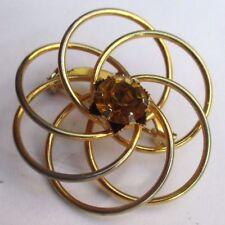 Belle broche couleur or bijou vintage rosace fine solitaire cristal citrine 2906