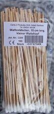 Wattestäbchen Watteträger  Holz 15 cm lang 100 Stk.   kleiner Kopf