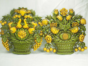 """Two 1966 Syroco MCM Retro Yellow & Green Flower Fruit Wall Hanging 12""""  Plaques"""