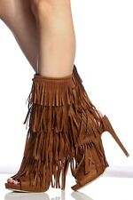 Womens Vegan Suede Fringe Mid Calf Tall Boot Booties Peep Toe Stiletto High Heel