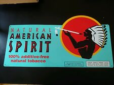 American Spirit Cigarette 100% Natural Tobacco Store Metal Tin Sign Vintage Blue