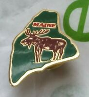 Vintage RARE MAINE htf MOOSE Elk State Gold Toned TRAVEL usa Pinback Button PIN