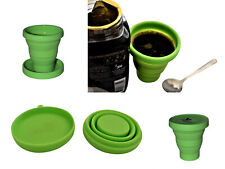 Reusable Travel Silicone Foldable Flatpack Green Coffee Cup & Lid/Saucer 175ml