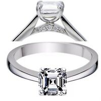 925 Sterling Silver Asscher with Side Accent Solitaire Ring with Cubic Zirconia