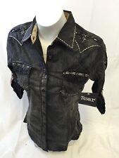 ROAR WOMENS 3/4 Sleeve Shirt Button Down WESTERN MULTI COLOR STONES MEDIUM 283