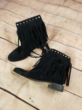 MICHAEL KORS Womens 6.5 Black Studded Fringed Suede Ankle Boots Booties