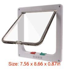 Small White 4-Way Magnetic Frame Lockable Dog Pet Cat Safe Lock Flap Door Gate