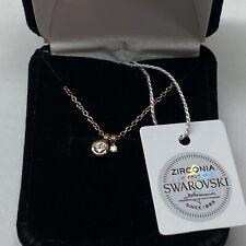 Avon 14K Gold Plated Round Cz Necklace with Swarovski Zirconia