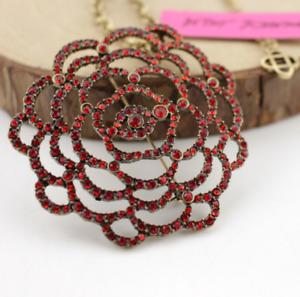 Pendant Enamel Betsey Johnson Jewelry Rhinestone Rose flower necklace Retro Fine