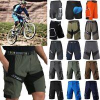 Men MTB Cycling Shorts Mountain Bike Bicycle Looes Zip Pockets Pants Anti-slip