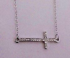 Sideways cross necklace horizontal silver crystal 16 inch chain clasp Sophia
