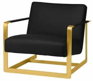 """30.8"""" W Occasional Chair Black Faux Leather Gold Polished Metal Framework"""